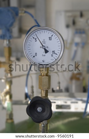 manometer or pressure gauge at a natural gas purification plant