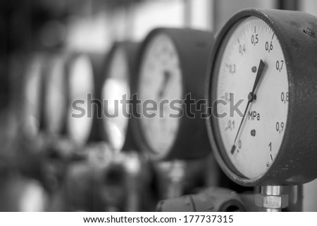 Manometers in the boiler - stock photo