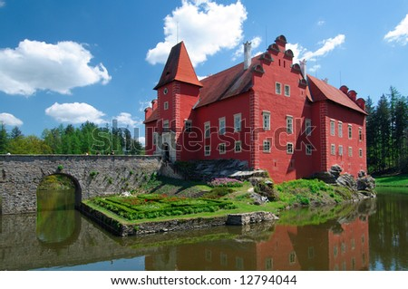 Manor House with red colored walls - stock photo