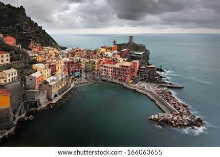 Manorolla on the Italian coast as a spring storm approaches.  - stock photo