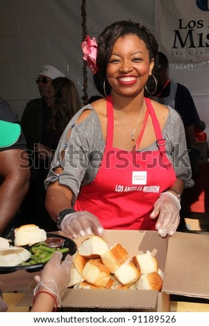 "Manouschka Guerrier at LA Mission ""Homeless"" Thanksgiving, Los Angeles Mission, Los Angeles, CA 11-23-11"