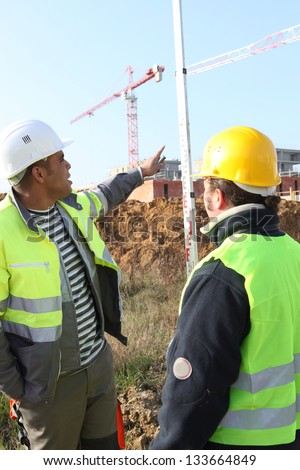 manpower in construction site - stock photo
