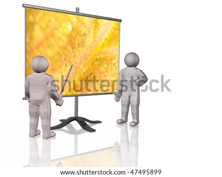 Mans and presentation stand on white background.