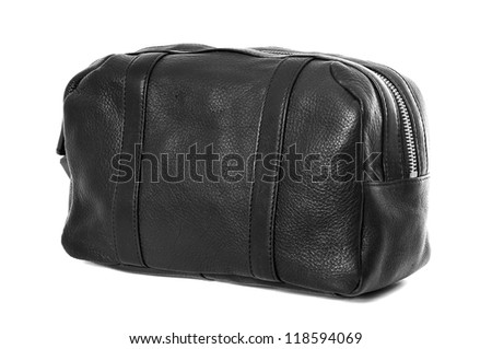 Mans black leather cosmetic bag or pouch isolated on white background - stock photo