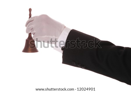 Mans Formal Gloved Hand and Arm With service Bell isolated over white - stock photo