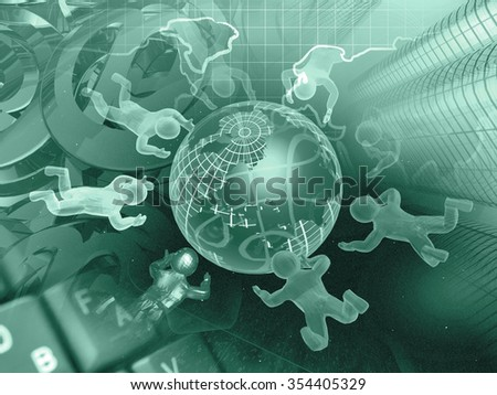 Mans, globe and map - abstract computer background in greens. - stock photo