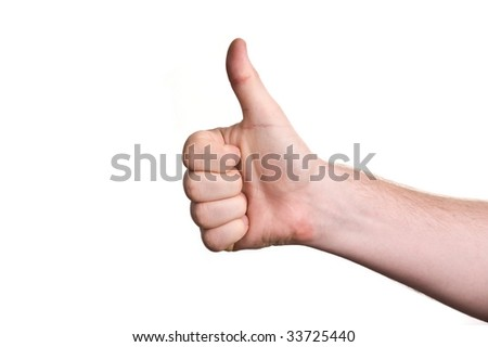 mans hand showing close up of the thumbs up sign - stock photo