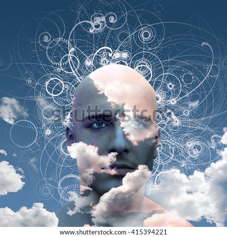 Mans head in clouds 3D Render - stock photo