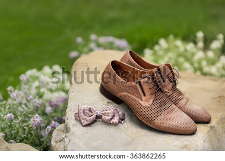 Mans leather classic shoes - stock photo