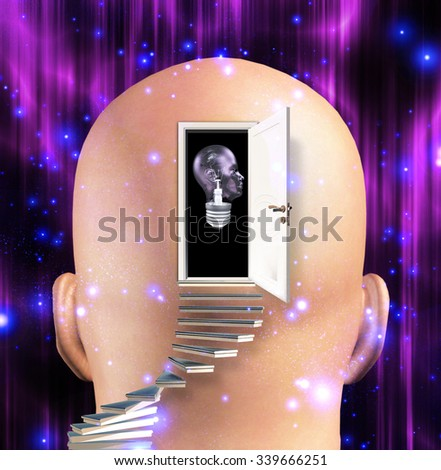 Mans mind opened to human light bulb - stock photo