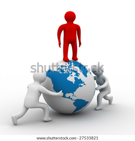 mans rolls the globe on a white background. Isolated 3D image. - stock photo