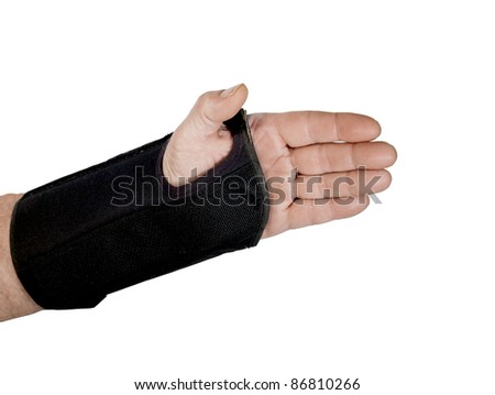 mans wrist in a brace with clipping path at original size