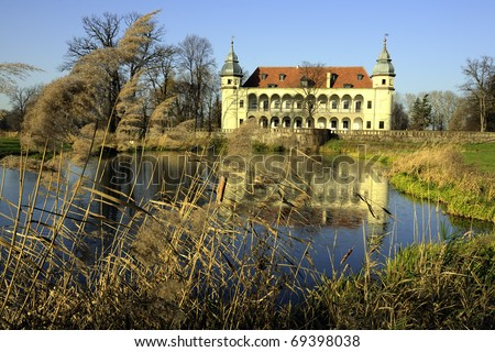 Mansion over lake near Wroclaw, poland