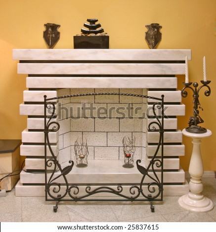 mantelpiece chimney fireplace fire hearth grate vintage - stock photo