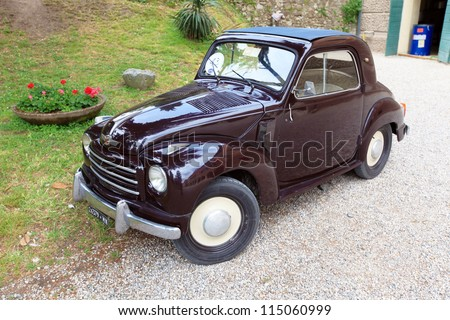 MANTOVA, ITALY - JUNE 13: A FIAT Topolino in exhibition during Golosaria, fair show of food and gastronomy culture June 13, 2010 in Mantova, Italy. - stock photo