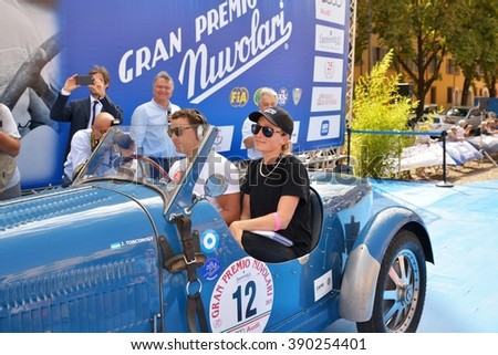 MANTOVA (MN), ITALY - SEPTEMBER 18: Argentinian champion Juan Tonconogy drives a Bugatti Type 40 at the GP Nuvolari classic car race on September 18, 2015 in Mantova (MN). The car was built in 1927. - stock photo