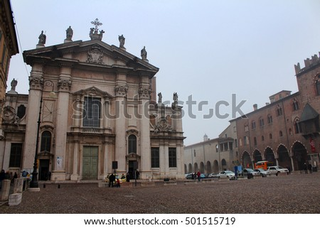 Mantua Cathedral (Cattedrale di San Pietro) in the Christmas time, December 27, 2015, Trento, Italy. Popular touristic european destination. Trento city view