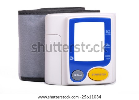 Manual blood pressure monitor medical tool isolated on white background - stock photo
