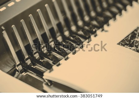 Manual book binding - stock photo