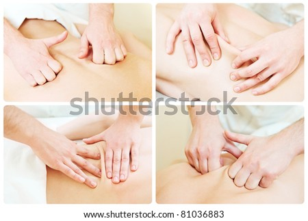 Manual medical relaxation procedure massage of human back against physical strain - stock photo