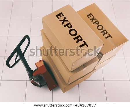 Manual pallet truck with carton boxes and text Export