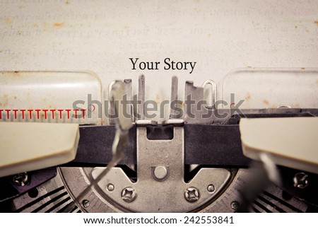 manual vintage stylish typewriter with share your story text on a paper - stock photo