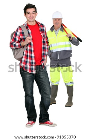 Manual worker and teenager