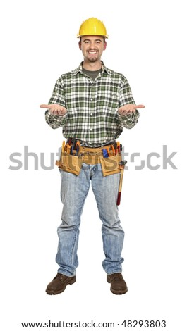 manual worker in showing pose isolated on white - stock photo