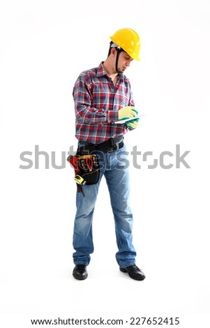 Manual Worker is writing on the white background. Isolated on white
