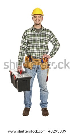 manual worker portrait with tooslbox isolated on white - stock photo