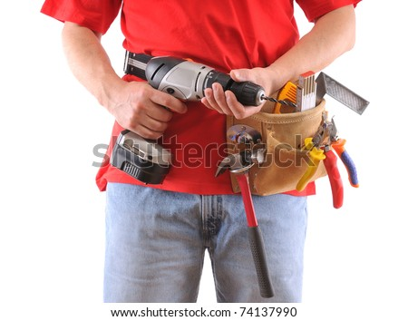 Manual worker with battery drill isolated on white background - a series of MANUAL WORKER images. - stock photo