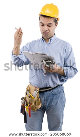 Manual worker with construction plan on hand isolated on white background.