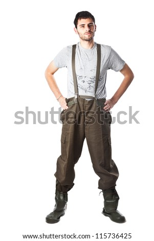 manual worker with protective workwear isolated on white - stock photo