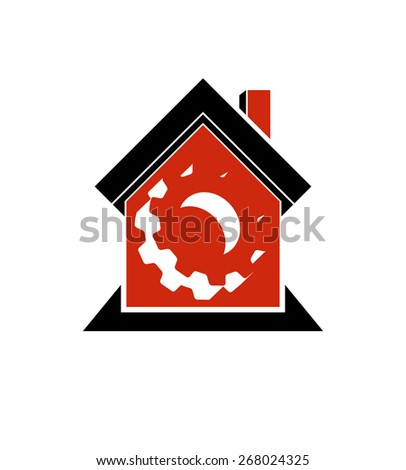Manufactory conceptual symbol â?? a house with 3d cog wheel. Industry and production theme element, for use in web design. - stock photo