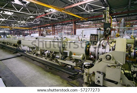 Manufacture pvc pipes - stock photo