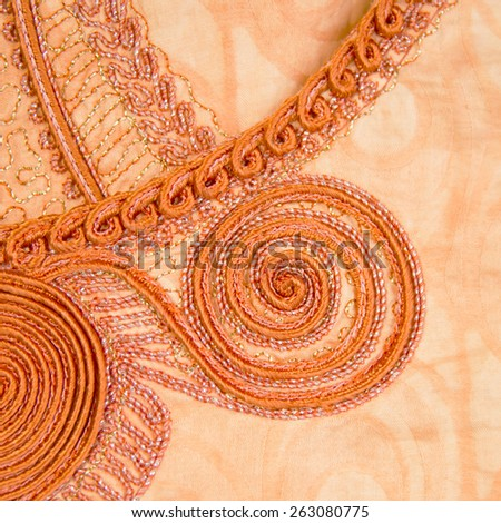 Manufactured African fabric (embroidered cotton)   - stock photo