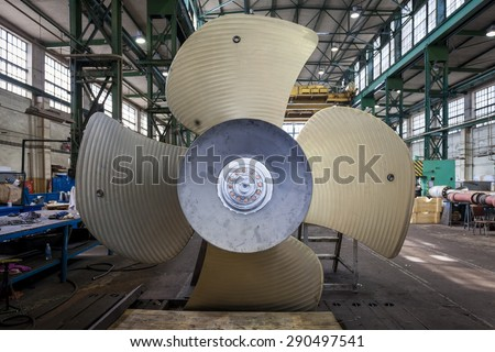 Manufactured in the shipyard screw propeller - stock photo