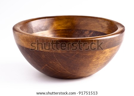 manufactured wooden bowl empty. kitchen utensil - stock photo