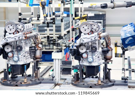 manufacturing parts for car engine - stock photo