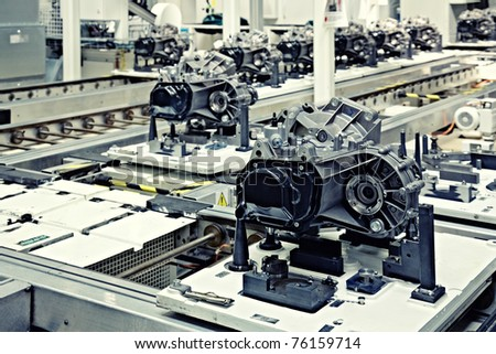 manufacturing parts for car transmission - stock photo