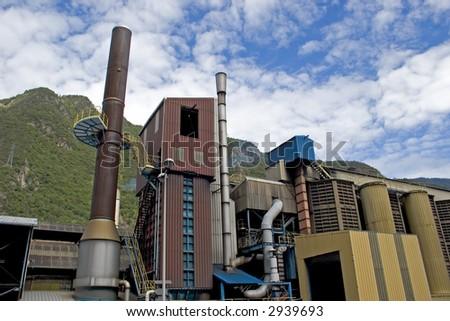 manufacturing plant of the industrial world - stock photo