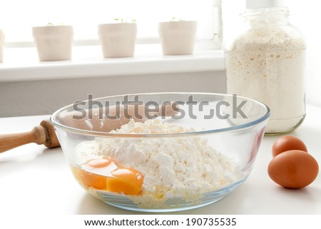 Manufacturing process Russian dumplings in the home kitchen - stock photo