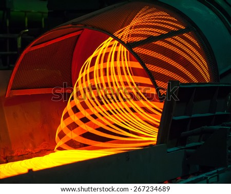 manufacturing wire Steel Works - stock photo