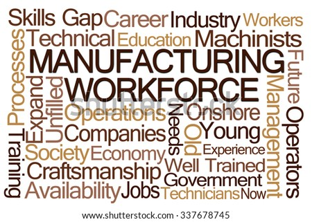 Manufacturing Workforce Word Cloud on White Background - stock photo