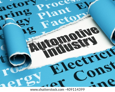Manufacuring concept: black text Automotive Industry under the curled piece of Blue torn paper with  Tag Cloud, 3D rendering - stock photo