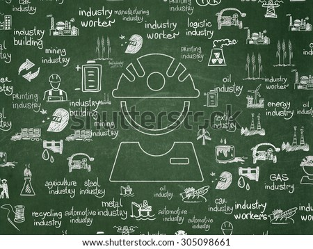 Manufacuring concept: Chalk White Factory Worker icon on School Board background with  Hand Drawn Industry Icons, 3d render - stock photo