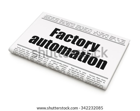 Manufacuring concept: newspaper headline Factory Automation on White background, 3d render - stock photo