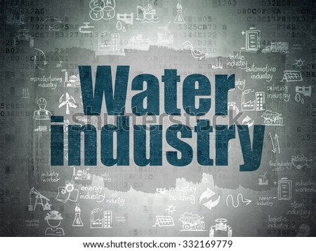 Manufacuring concept: Painted blue text Water Industry on Digital Paper background with Scheme Of Hand Drawn Industry Icons