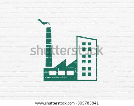 Manufacuring concept: Painted green Industry Building icon on White Brick wall background, 3d render