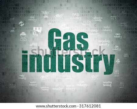 Manufacuring concept: Painted green text Gas Industry on Digital Paper background with  Hand Drawn Industry Icons